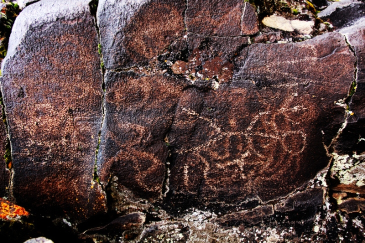 Over prints of petroglyphs