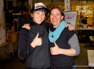 Krystal Marie Collins and Denise Rowcroft (at the Repair Cafe) give the universal symbol for re-thinking waste, thumbs up!