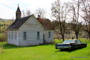 The old church and an abandon cadillac