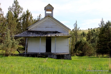 The old school house, this might only be accessible by scaling a barb wire fence