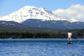Paddling toward South Sister