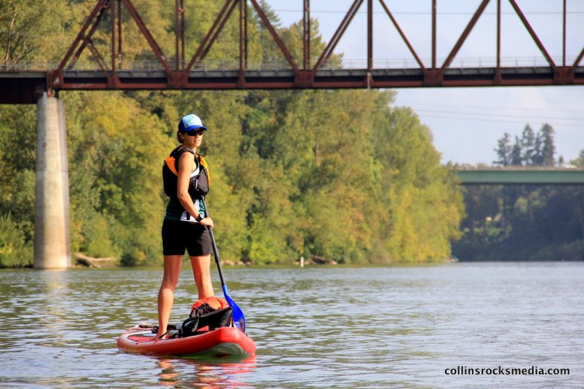 Paddling below an old railroad bridge and then Interstate 5 crossing near Wilsonville